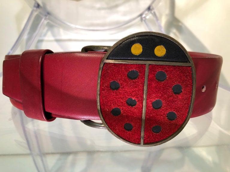 Women's or Men's 1960s Vera Ladybug Suede Belt Buckle W/ Red Leather Belt For Sale