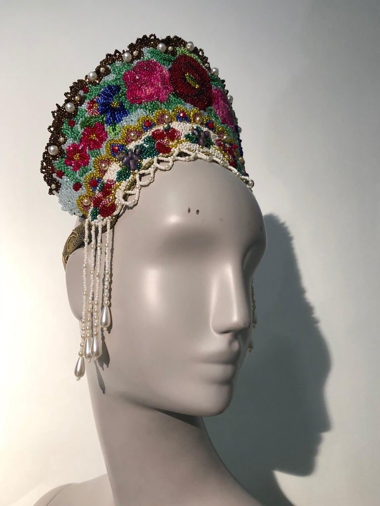 Torso Creations Russian Beaded Floral Mantilla Crown W/ Gold Lace Details For Sale 2