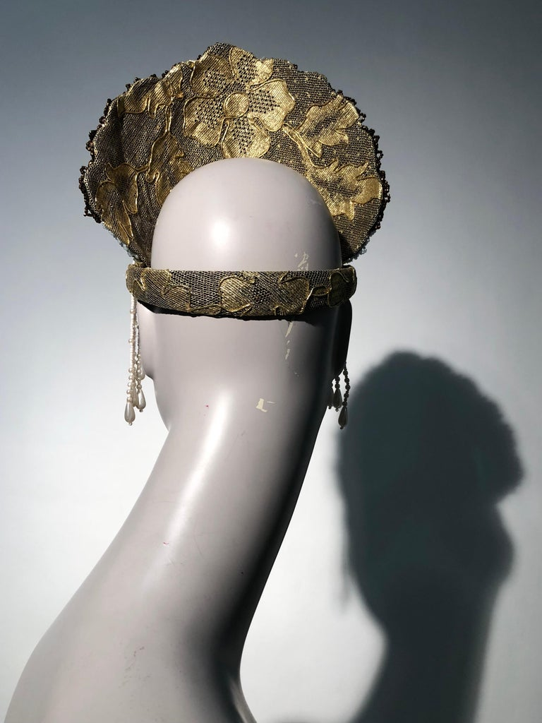 Torso Creations Russian Beaded Floral Mantilla Crown W/ Gold Lace Details For Sale 1