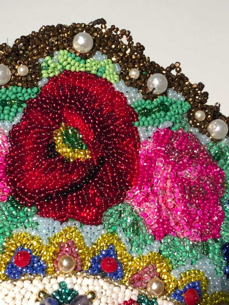Torso Creations Russian Beaded Floral Mantilla Crown W/ Gold Lace Details For Sale 3