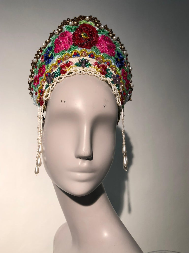 Torso Creations Russian Beaded Floral Mantilla Crown W/ Gold Lace Details For Sale 8