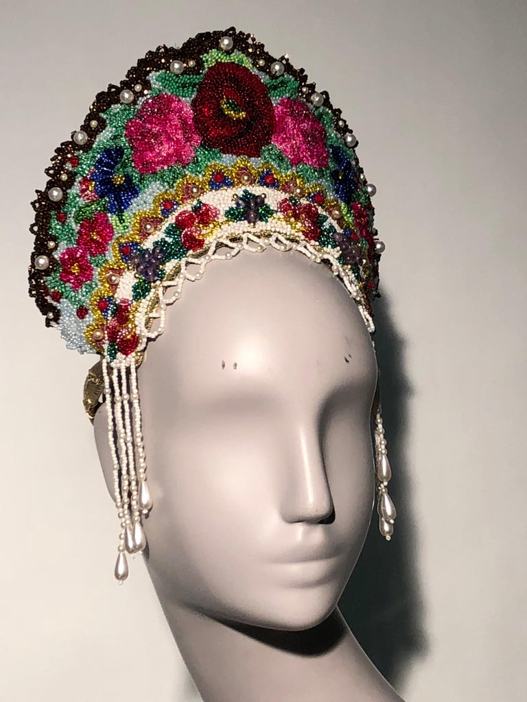 Torso Creations Russian Beaded Floral Mantilla Crown W/ Gold Lace Details In Excellent Condition For Sale In San Francisco, CA