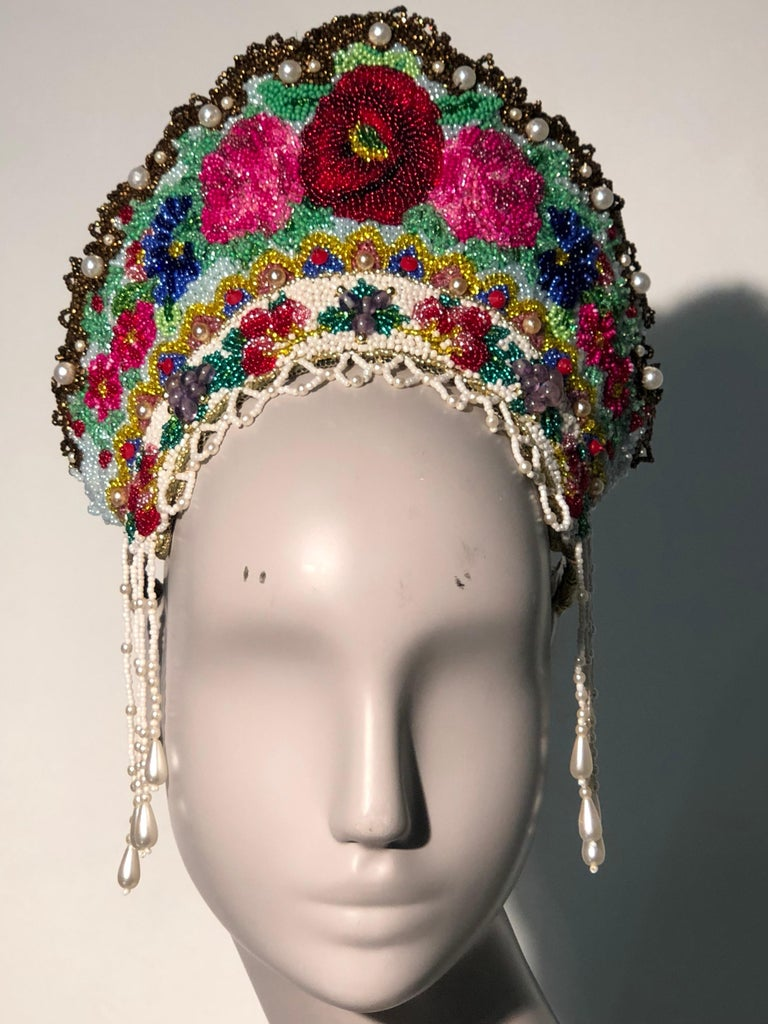 Gray Torso Creations Russian Beaded Floral Mantilla Crown W/ Gold Lace Details For Sale