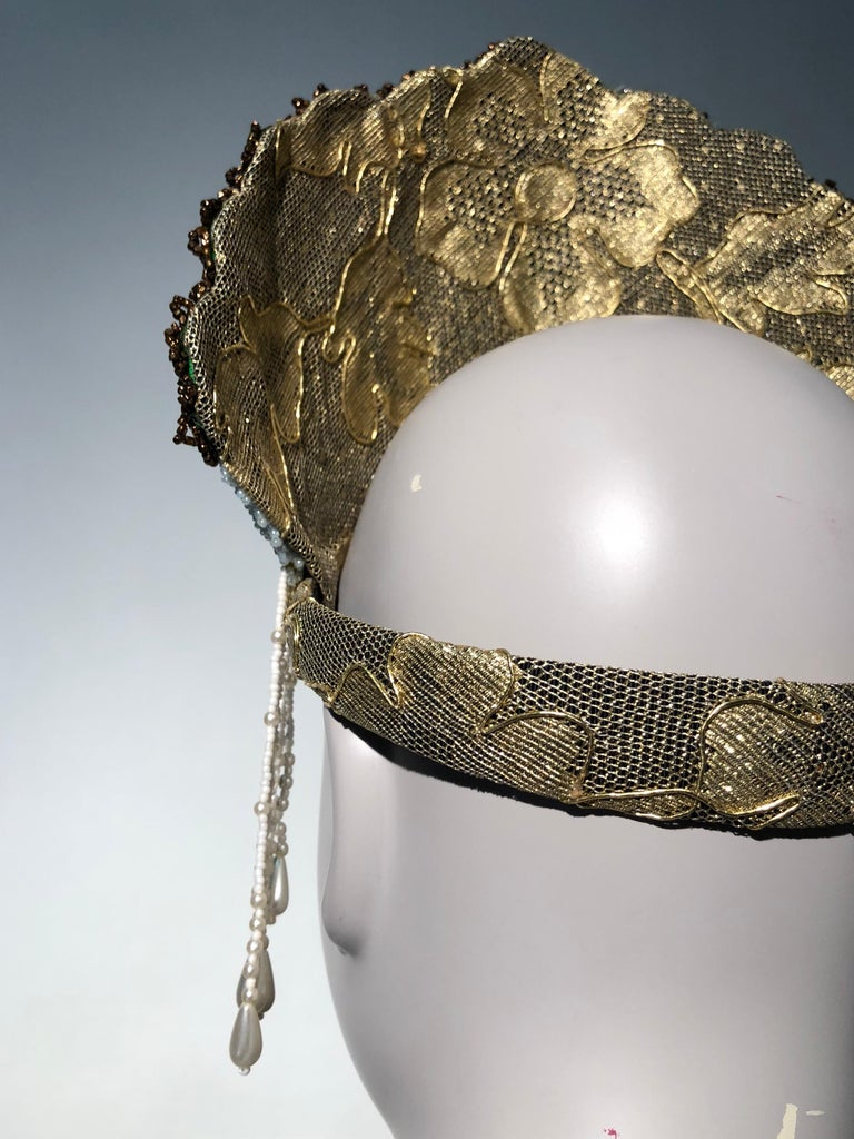 Torso Creations Russian Beaded Floral Mantilla Crown W/ Gold Lace Details For Sale 7