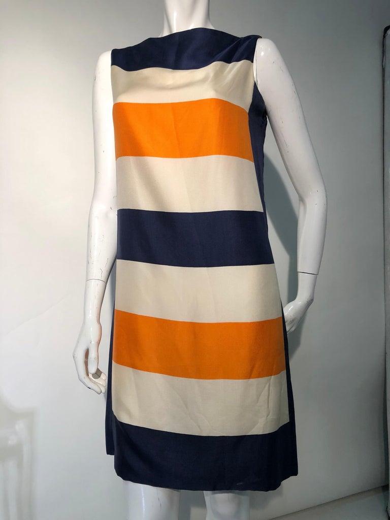 Beige 1960s Teal Traina Silk Color Block Mod Shift Dress W/ Head Wrap For Sale