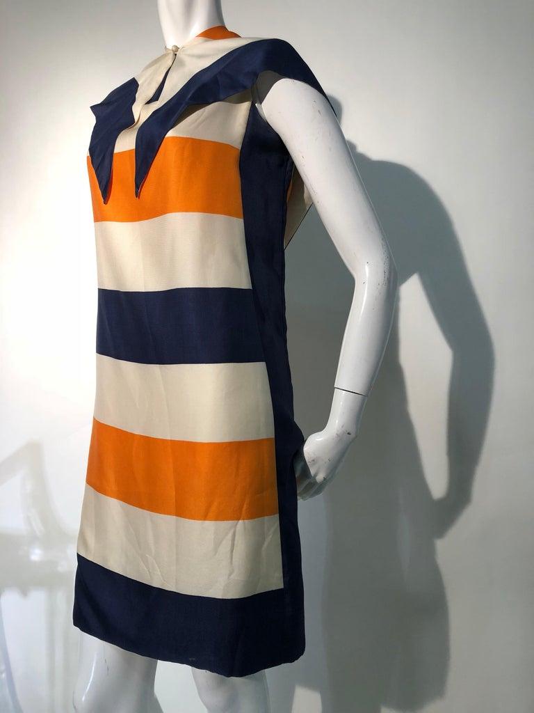 Women's 1960s Teal Traina Silk Color Block Mod Shift Dress W/ Head Wrap For Sale