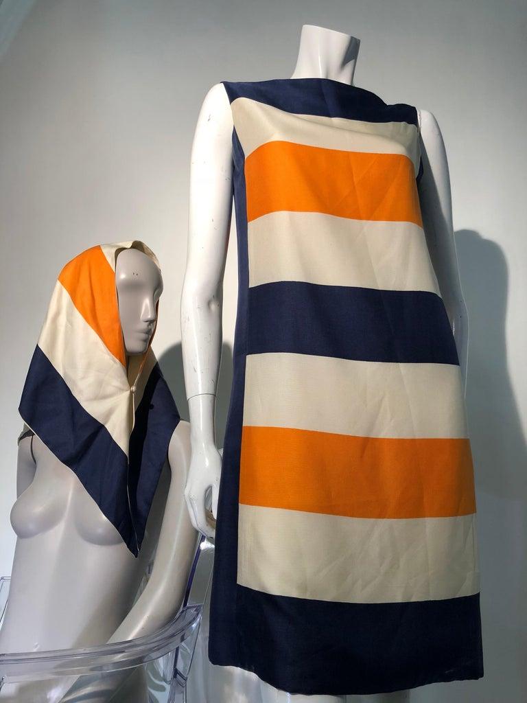 1960s Teal Traina Silk Color Block Mod Shift Dress W/ Head Wrap For Sale 1