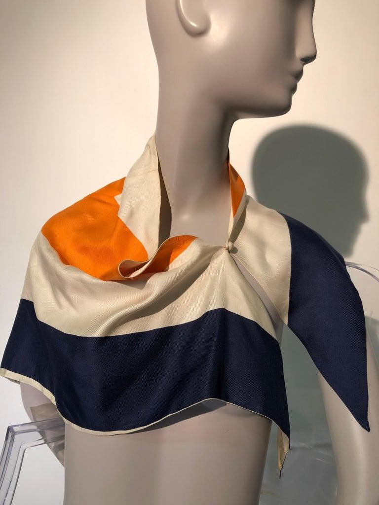 1960s Teal Traina Silk Color Block Mod Shift Dress W/ Head Wrap For Sale 2