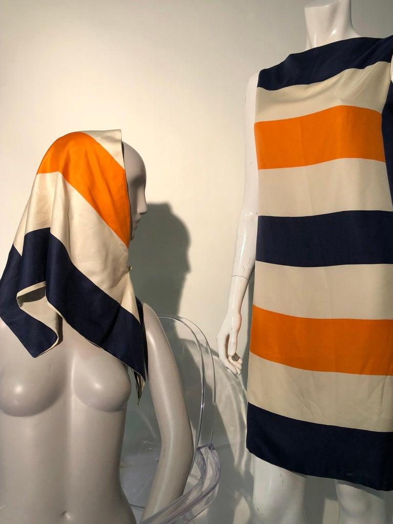 1960s Teal Traina Silk Color Block Mod Shift Dress W/ Head Wrap For Sale 3