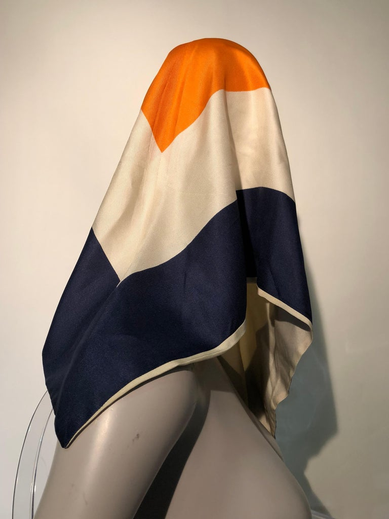 1960s Teal Traina Silk Color Block Mod Shift Dress W/ Head Wrap For Sale 4