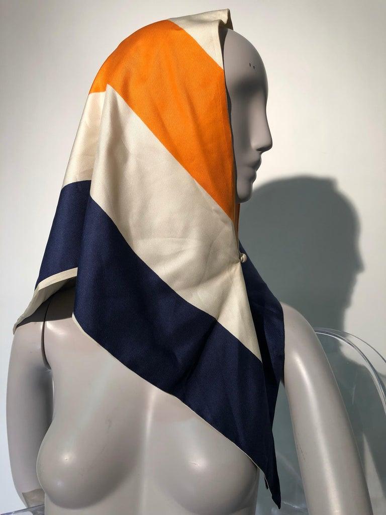 1960s Teal Traina Silk Color Block Mod Shift Dress W/ Head Wrap For Sale 5