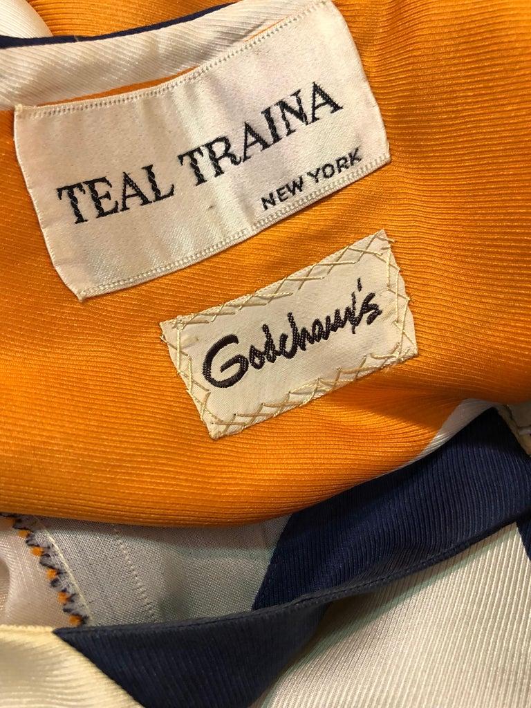 1960s Teal Traina Silk Color Block Mod Shift Dress W/ Head Wrap For Sale 6