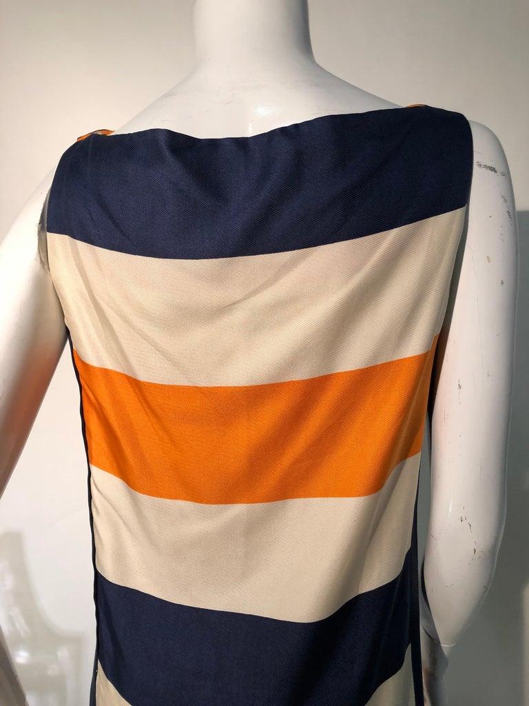 1960s Teal Traina Silk Color Block Mod Shift Dress W/ Head Wrap For Sale 7