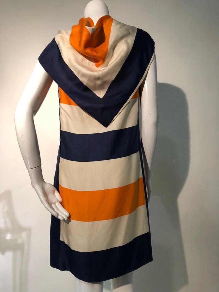 1960s Teal Traina Silk Color Block Mod Shift Dress W/ Head Wrap For Sale 8