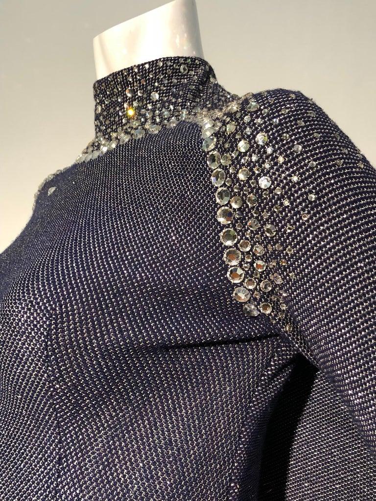 Black 1960s Pauline Trigère Metallic Knit Gown W/ Futuristic Rhinestone Shoulder Yoke For Sale