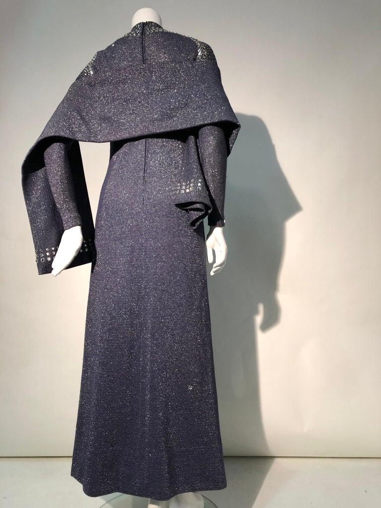 Women's 1960s Pauline Trigère Metallic Knit Gown W/ Futuristic Rhinestone Shoulder Yoke For Sale