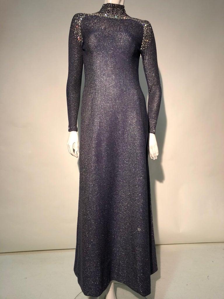 1960s Pauline Trigère Metallic Knit Gown W/ Futuristic Rhinestone Shoulder Yoke For Sale 3