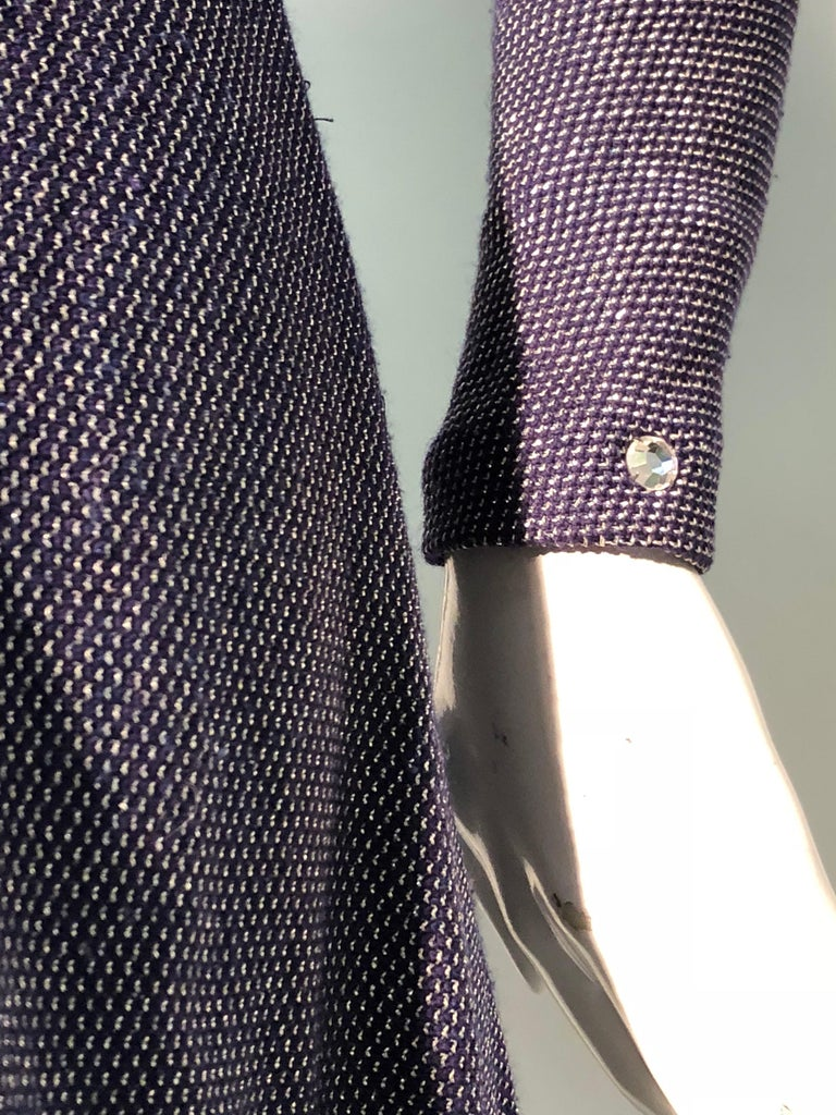 1960s Pauline Trigère Metallic Knit Gown W/ Futuristic Rhinestone Shoulder Yoke For Sale 4