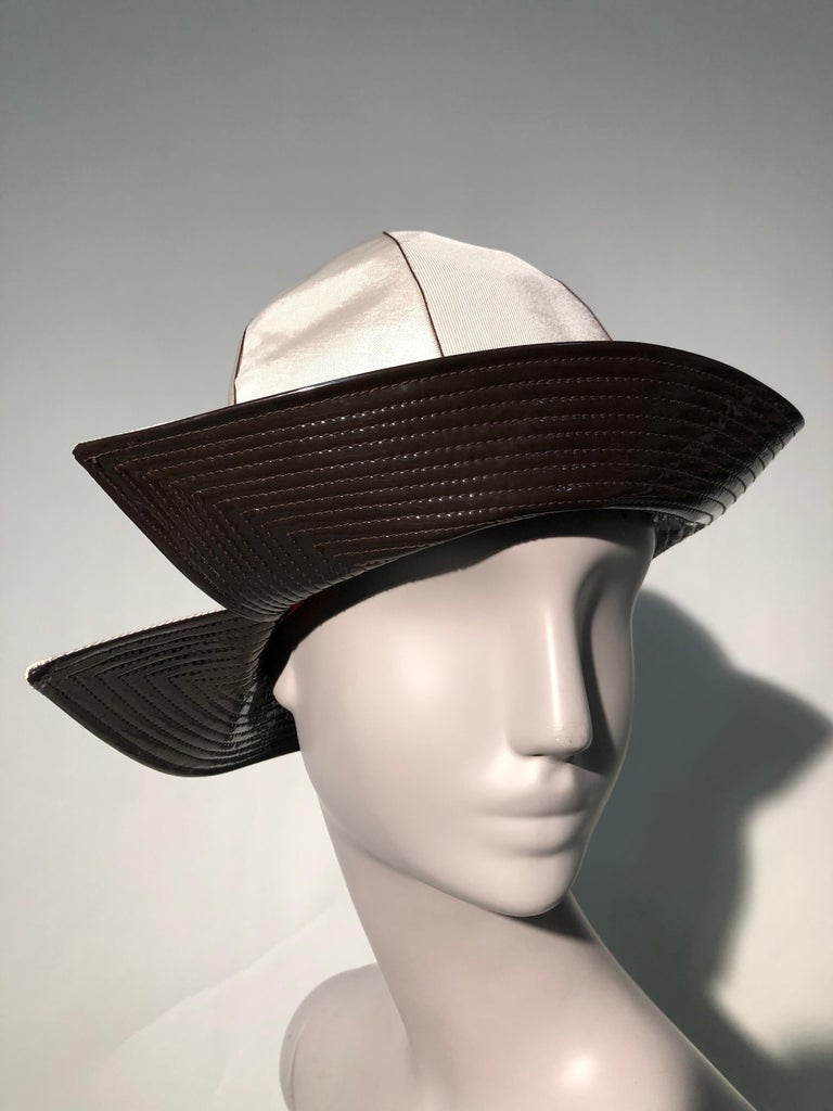 1960s Mr. John Ivory Faille Mod Hat W/ Wide Brown Patent Trapunto Stitched Brim In New Condition For Sale In San Francisco, CA