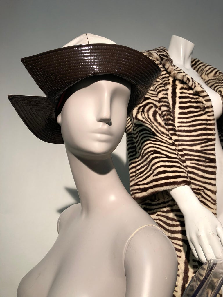 Women's 1960s Mr. John Ivory Faille Mod Hat W/ Wide Brown Patent Trapunto Stitched Brim For Sale