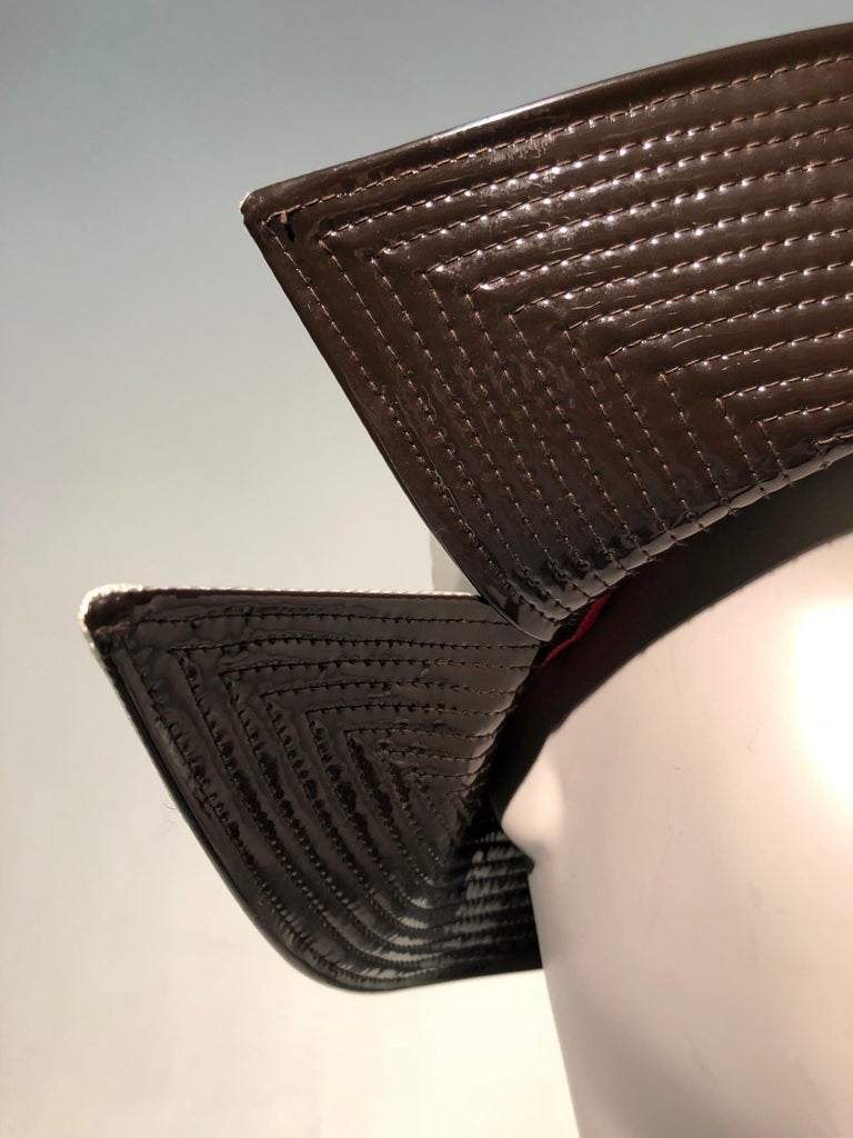 1960s Mr. John Ivory Faille Mod Hat W/ Wide Brown Patent Trapunto Stitched Brim For Sale 1