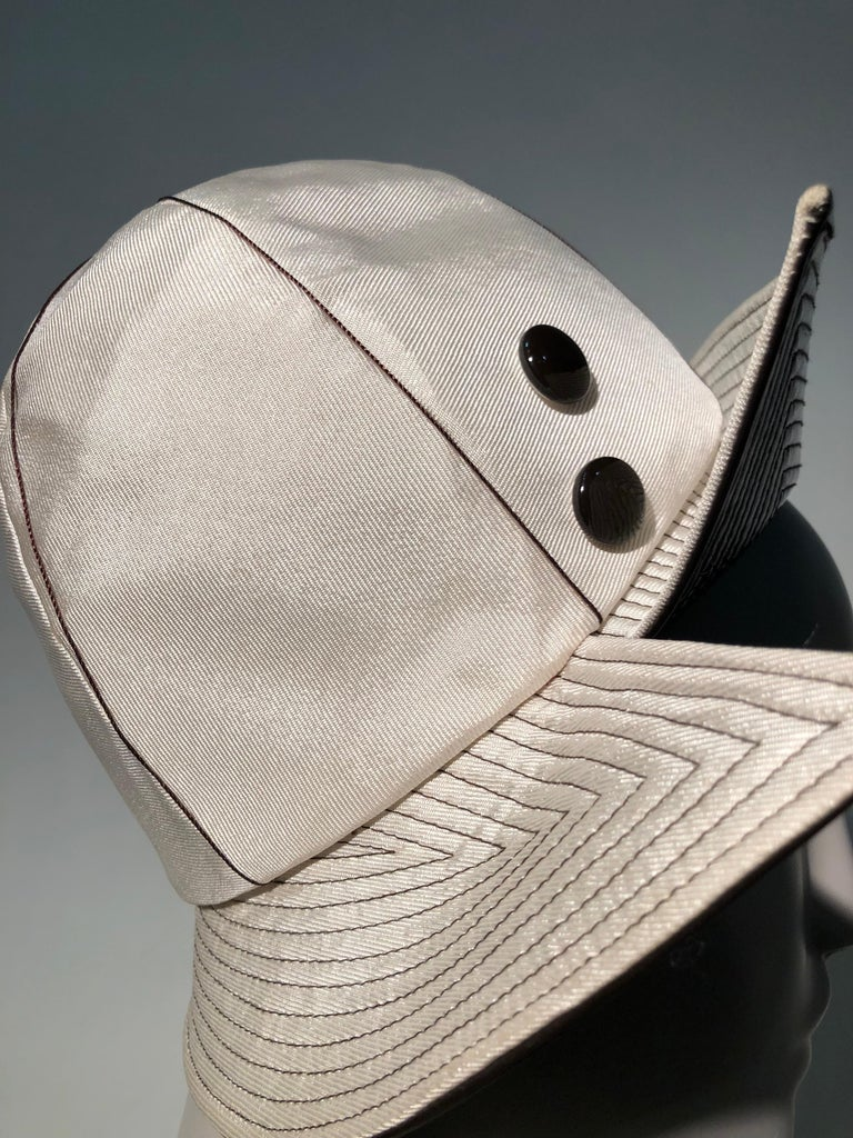 1960s Mr. John Ivory Faille Mod Hat W/ Wide Brown Patent Trapunto Stitched Brim For Sale 2