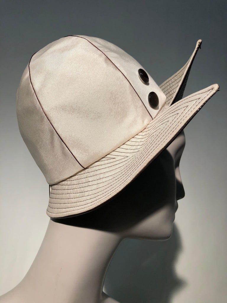 1960s Mr. John Ivory Faille Mod Hat W/ Wide Brown Patent Trapunto Stitched Brim For Sale 3