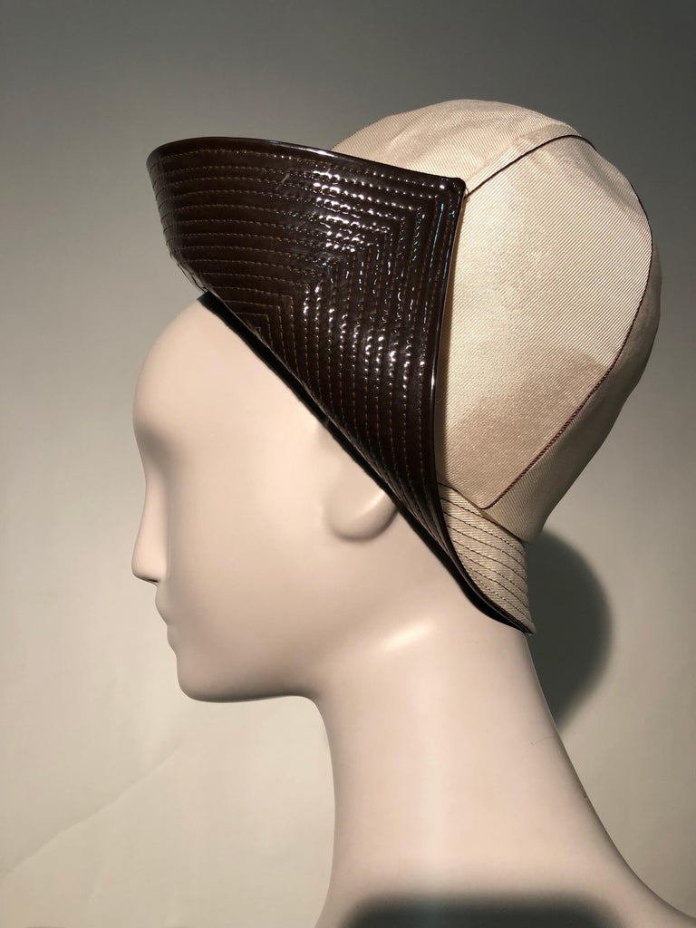 White 1960s Mr. John Ivory Faille Mod Hat W/ Wide Brown Patent Trapunto Stitched Brim For Sale