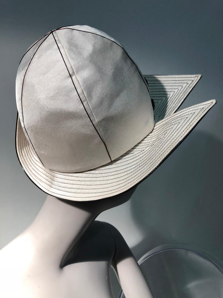 1960s Mr. John Ivory Faille Mod Hat W/ Wide Brown Patent Trapunto Stitched Brim For Sale 5