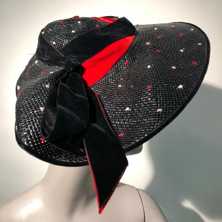1950s Casper Davis Black Straw Wide Brimmed Hat W/ Red & Black Velvet Ribbons For Sale 3