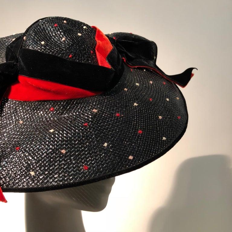 1950s Casper Davis Black Straw Wide Brimmed Hat W/ Red & Black Velvet Ribbons For Sale 4