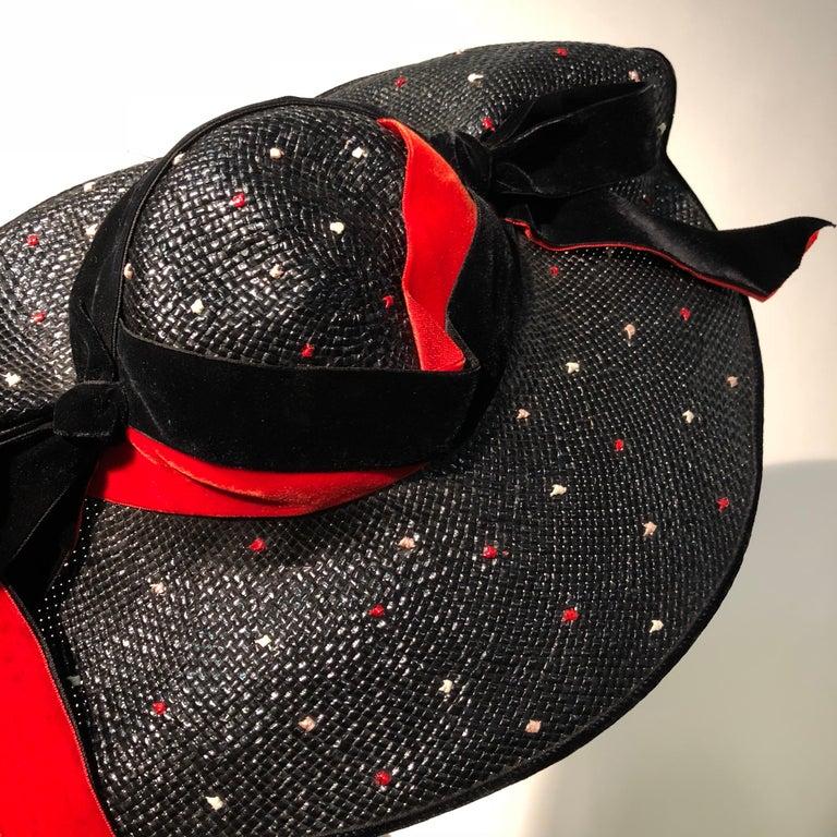 1950s Casper Davis Black Straw Wide Brimmed Hat W/ Red & Black Velvet Ribbons For Sale 5