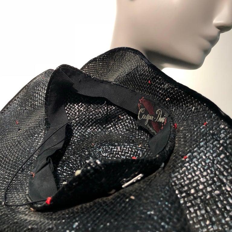 1950s Casper Davis Black Straw Wide Brimmed Hat W/ Red & Black Velvet Ribbons For Sale 7