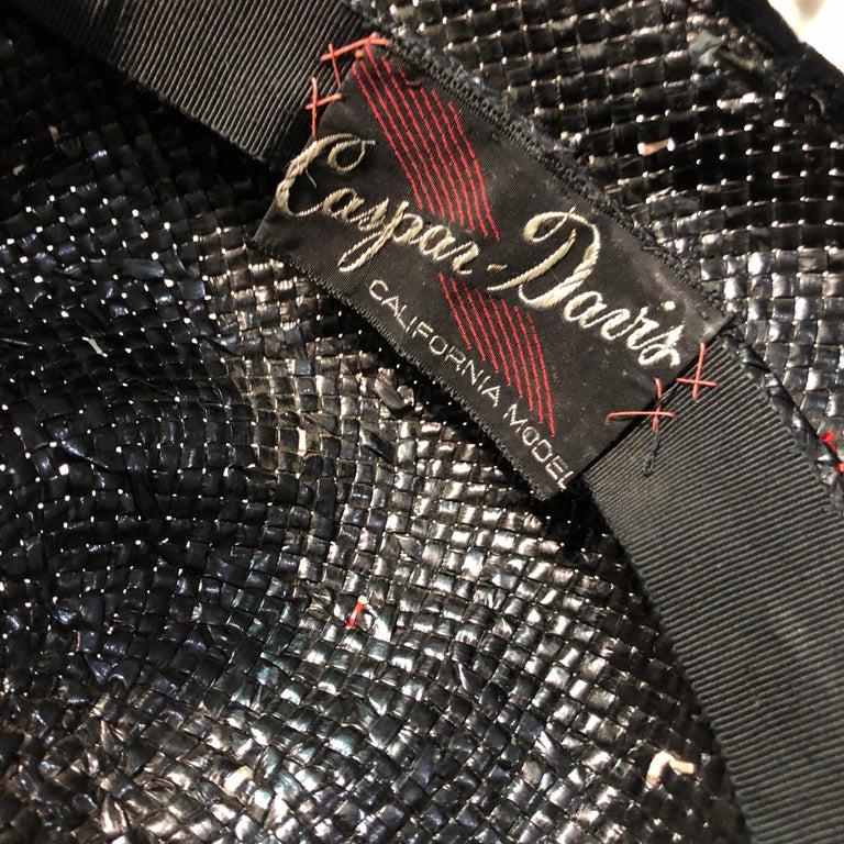 1950s Casper Davis Black Straw Wide Brimmed Hat W/ Red & Black Velvet Ribbons For Sale 8