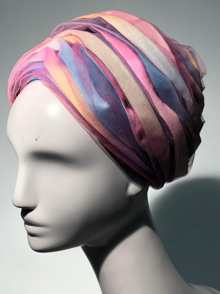A wonderful 1960s Christian Dior turban-style beehive hat with pastel color  silk ribbon multicolor 7d98bcf0aec