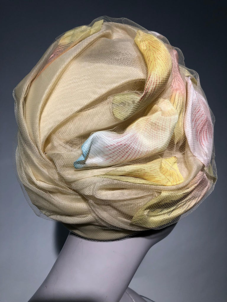 Women's 1960s Christian Dior Pale Yellow Silk Beehive Turban Hat W/ Large Pastel Petals For Sale