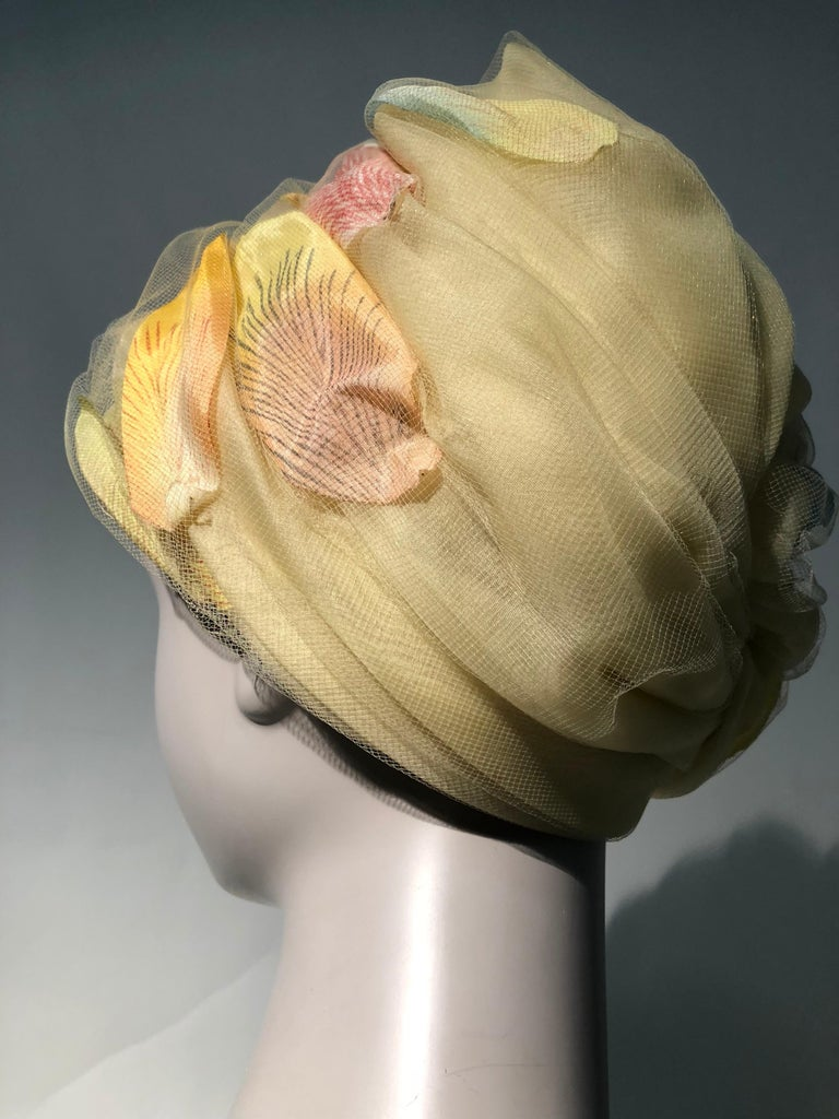 1960s Christian Dior Pale Yellow Silk Beehive Turban Hat W/ Large Pastel Petals For Sale 1