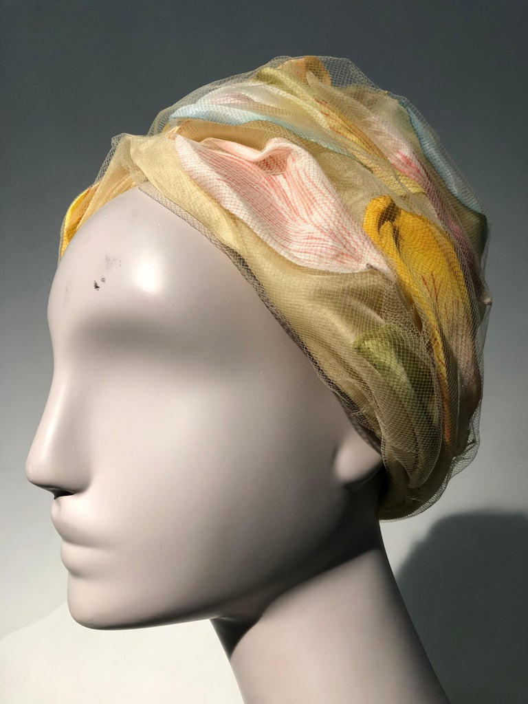 1960s Christian Dior Pale Yellow Silk Beehive Turban Hat W/ Large Pastel Petals For Sale 2