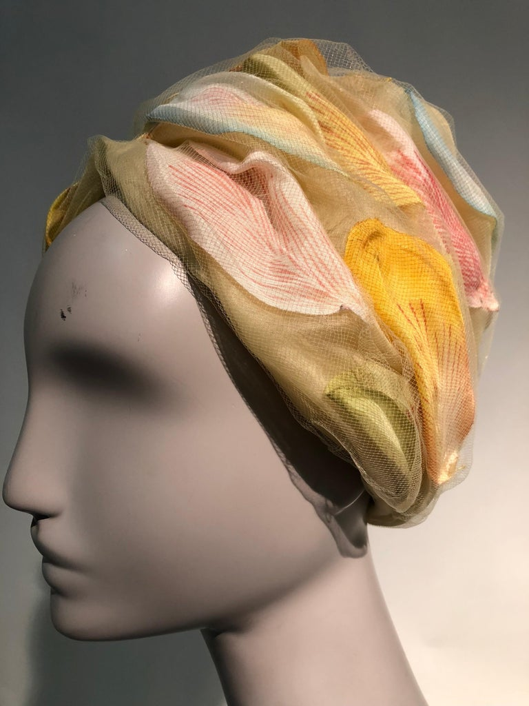 1960s Christian Dior Pale Yellow Silk Beehive Turban Hat W/ Large Pastel Petals For Sale 3