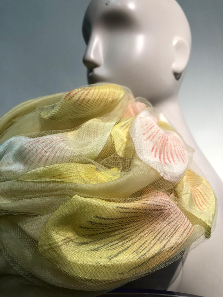 1960s Christian Dior Pale Yellow Silk Beehive Turban Hat W/ Large Pastel Petals For Sale 6