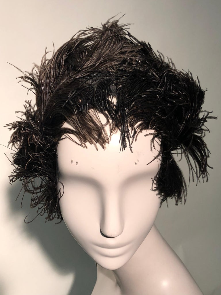 Women's 1950s Christian Dior Ballet-Inspired Black Ostrich Feather Cocktail Hat  For Sale