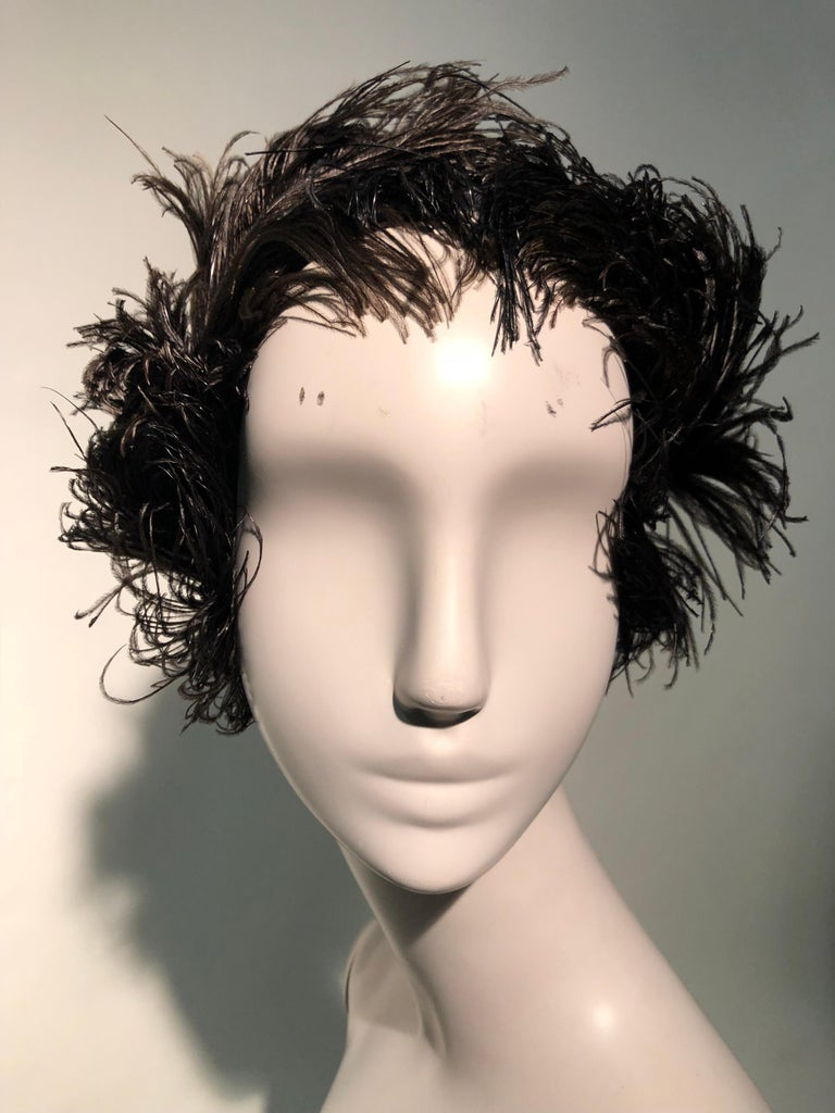 1950s Christian Dior Ballet-Inspired Black Ostrich Feather Cocktail Hat  For Sale 2