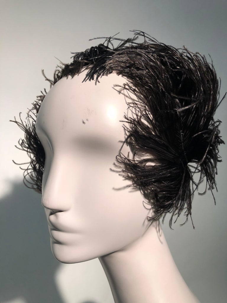 1950s Christian Dior Ballet-Inspired Black Ostrich Feather Cocktail Hat  For Sale 7