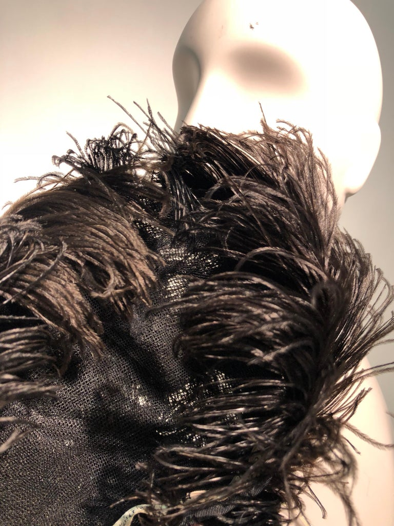 1950s Christian Dior Ballet-Inspired Black Ostrich Feather Cocktail Hat  For Sale 10