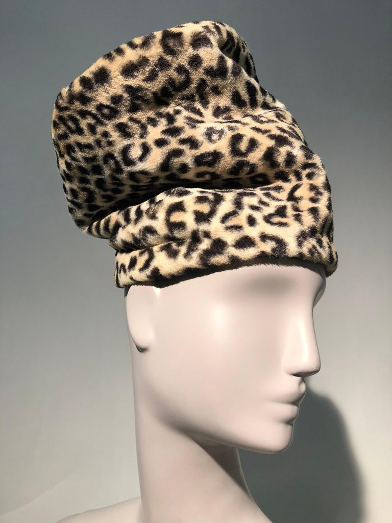 An unusual and daring 1960s Dachettes by Lilly Daché extra tall slouchy faux leopard hat in a stovepipe shape. No brim. The talk of the party!