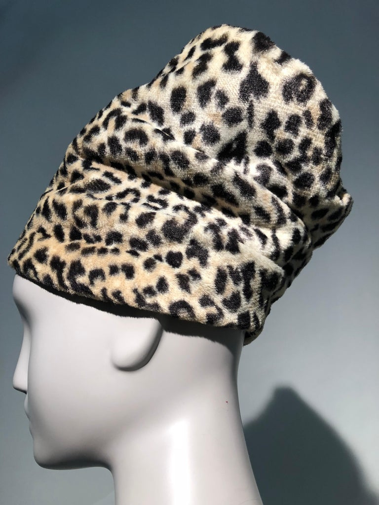 Beige 1960s Dachettes By Lilly Daché Whimsical Stovepipe Faux Leopard Hat For Sale