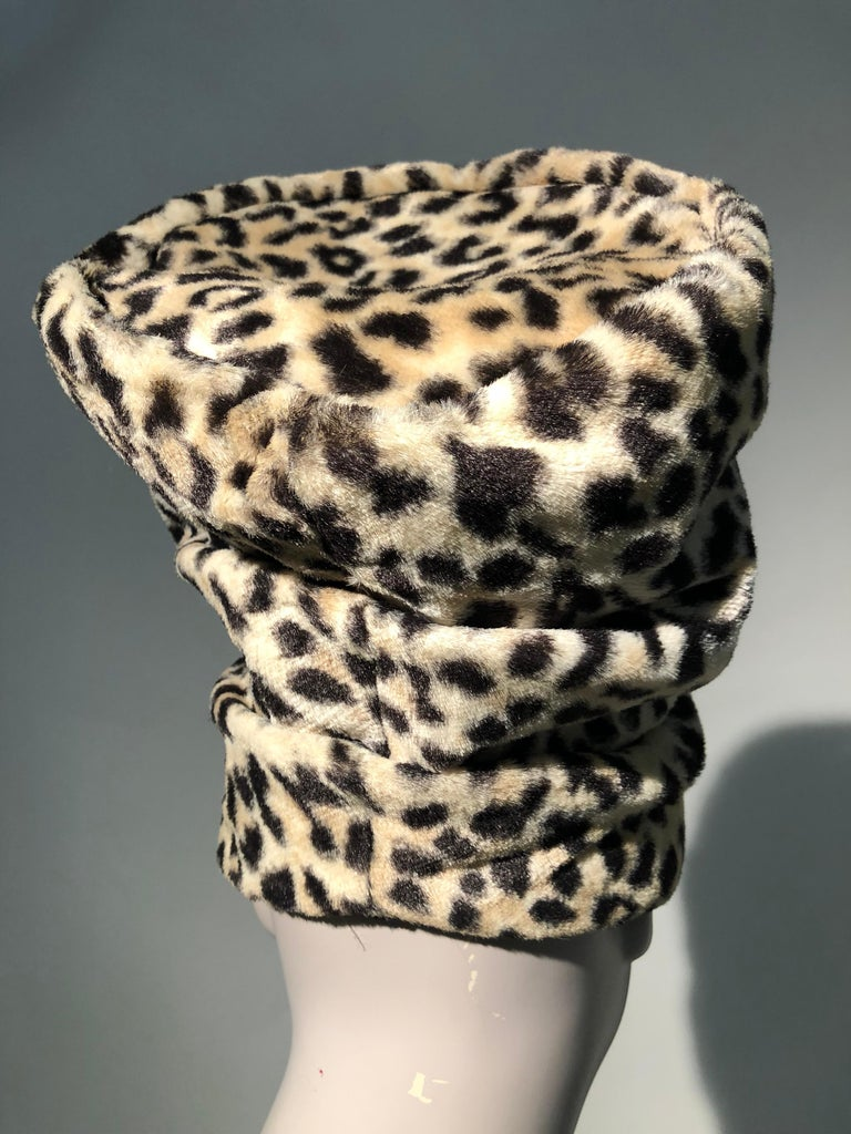 Women's 1960s Dachettes By Lilly Daché Whimsical Stovepipe Faux Leopard Hat For Sale