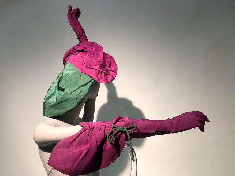 Pink Rare 1940s Sally Victor Fuchsia & Green Hat & Opera Glove Ensemble For Sale