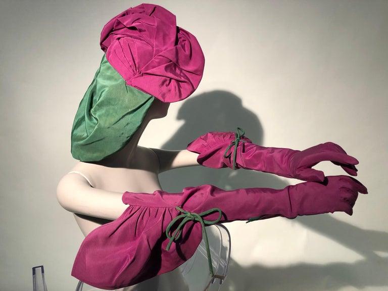 Rare 1940s Sally Victor Fuchsia & Green Hat & Opera Glove Ensemble In Good Condition For Sale In San Francisco, CA