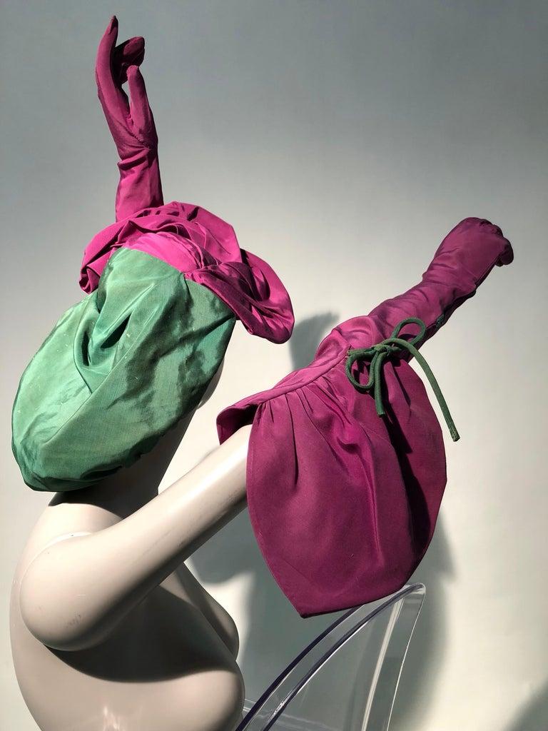 Women's Rare 1940s Sally Victor Fuchsia & Green Hat & Opera Glove Ensemble For Sale